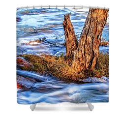 Rustic Island, Noble Falls Shower Curtain