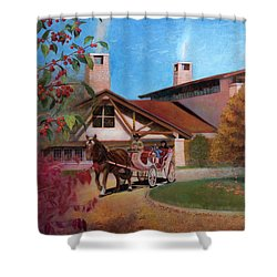 Shower Curtain featuring the painting Rustic Lodge by Nancy Lee Moran