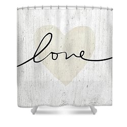 Shower Curtain featuring the mixed media Rustic Love Heart- Art By Linda Woods by Linda Woods
