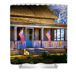 Shower Curtain featuring the photograph Rustic Patriotic House by Kelly Wade