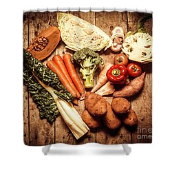 Rustic Style Country Vegetables Shower Curtain