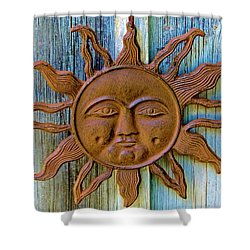 Rustic Sunface Shower Curtain