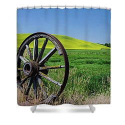 Rustic Wagon Wheel In The Palouse Shower Curtain