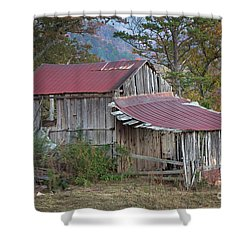 Shower Curtain featuring the photograph Rustic Weathered Hillside Barn by John Stephens