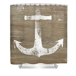 Shower Curtain featuring the mixed media Rustic White Anchor- Art By Linda Woods by Linda Woods