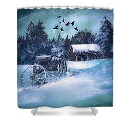 Rustic Winter Barn  Shower Curtain