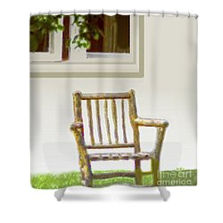 Rustic Wooden Rocking Chair Shower Curtain