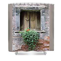 Rustic Wooden Window Shutters Shower Curtain by Donna Corless