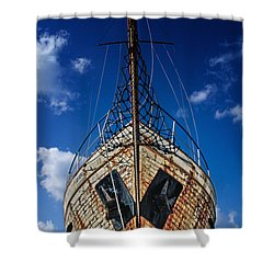 Rusting Boat Shower Curtain by Stelios Kleanthous