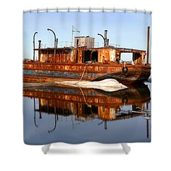 Rusty Barge Shower Curtain by Anthony Jones
