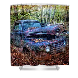 Shower Curtain featuring the photograph Rusty Blue Vintage Ford  Truck by Debra and Dave Vanderlaan