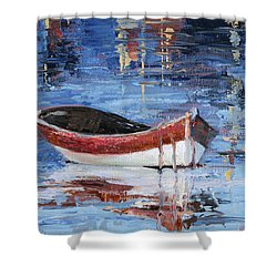 Rusty Brown Blues Shower Curtain by Trina Teele