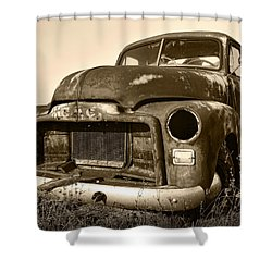 Rusty But Trusty Old Gmc Pickup Truck - Sepia Shower Curtain