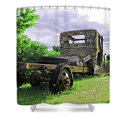 Rusty Ford Truck Yard Art Shower Curtain