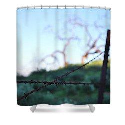 Shower Curtain featuring the photograph Rusty Gate Rural Tree 2 by Matt Harang
