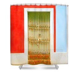 Rusty Iron Door Shower Curtain by Perry Webster