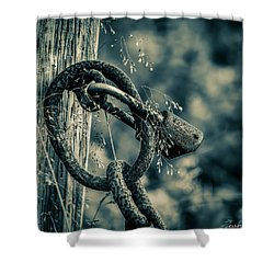 Rusty Lock And Chain Shower Curtain by Ken Morris