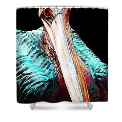 Rusty - Pelican Art Painting By Sharon Cummings Shower Curtain