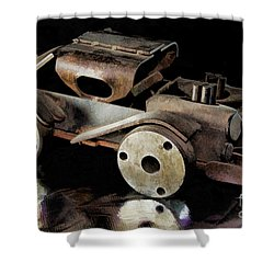 Shower Curtain featuring the photograph Rusty Rat Rod Toy by Wilma Birdwell