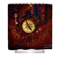 Shower Curtain featuring the digital art Rusty Time Machine by Alexa Szlavics