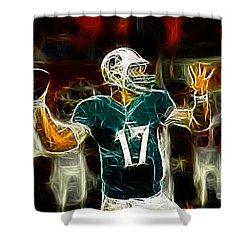 Ryan Tannehill - Miami Dolphin Quarterback Shower Curtain by Paul Ward