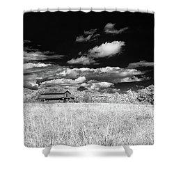 S C Upstate Barn Bw Shower Curtain