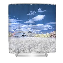S C Upstate Barn Faux Color Shower Curtain