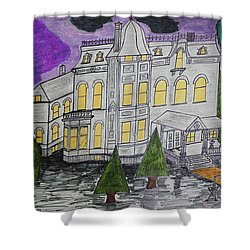 Shower Curtain featuring the painting S M Stephenson Home by Jonathon Hansen