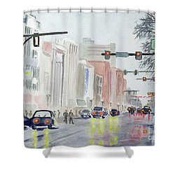 Shower Curtain featuring the painting S. Main Street In Ann Arbor Michigan by Yoshiko Mishina