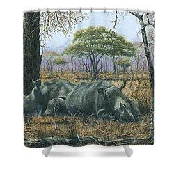 Sabi Sand Siesta Shower Curtain by Richard Harpum