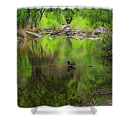 Shower Curtain featuring the photograph Sabino Reflection Op53 by Mark Myhaver