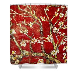 Sac Rouge Avec Fleurs D'almandiers Shower Curtain by Belinda Low