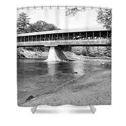 Saco River Covered Bridge In Black And White Shower Curtain