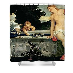 Sacred And Profane Love Shower Curtain by Titian