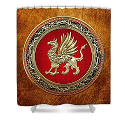 Sacred Golden Griffin On Brown Leather Shower Curtain