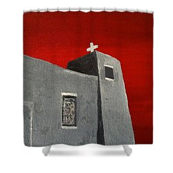 Shower Curtain featuring the painting Sacred Heart Nambe Nm Before The Storm by Brenda Pressnall