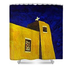 Shower Curtain featuring the painting Sacred Heart Nambe Nm By Moonlight by Brenda Pressnall