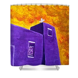 Shower Curtain featuring the painting Sacred Heart Nambe Nm Sunset by Brenda Pressnall