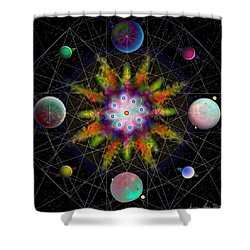 Sacred Planetary Geometry - Dark Red Atom Shower Curtain by Iowan Stone-Flowers