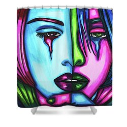 Sad Crying Woman Face Abstract Art Shower Curtain