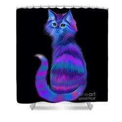 Shower Curtain featuring the painting Sad Eyed Colorful Cat by Nick Gustafson