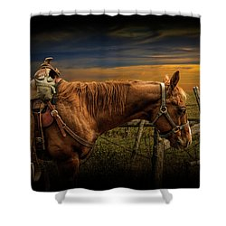 Saddle Horse On The Prairie Shower Curtain