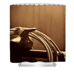 Saddle In A Barn Shower Curtain by American West Legend By Olivier Le Queinec