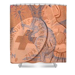Shower Curtain featuring the digital art Safety Kangaroo First by Nop Briex