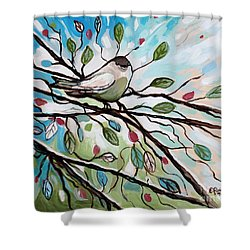 Sage Glimmering Songbird  Shower Curtain