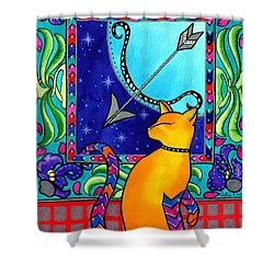Sagittarius Cat Zodiac Shower Curtain