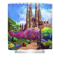 Sagrada Familia And Park,barcelona Shower Curtain by Jane Small