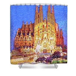 Shower Curtain featuring the painting Sagrada Familia At Night by Jane Small