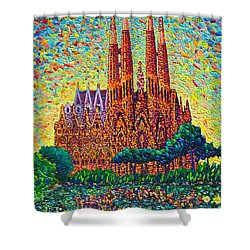 Sagrada Familia Barcelona Modern Impressionist Palette Knife Oil Painting By Ana Maria Edulescu Shower Curtain