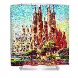 Sagrada Familia Shower Curtain by Jane Small